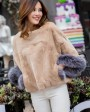 Pollover Rex Rabbit Fur Blouse Jacket 760 Camel 1