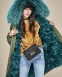 Raccoon Fur Trimmed Hooded Parka with Detachable Fox Fur Liner 134a7