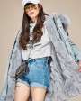 Raccoon Fur Trimmed Hooded Parka with Detachable Rex Rabbit Fur Liner 118a