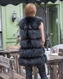 Raccoon Fur Vest 824 Black 3