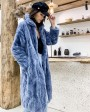 Rex Rabbit Fur Long Coat Light-Blue 0036fc