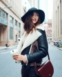 Two-tone Shearling Sheepskin Biker Jacket 082b