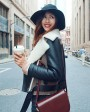 Two-tone Shearling Sheepskin Biker Jacket 082c