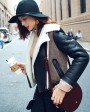 Two-tone Shearling Sheepskin Biker Jacket 082d