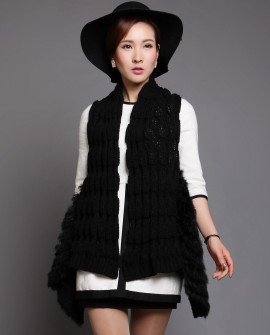 Black Rabbit Fur Knitted Vest with Wool Knitting