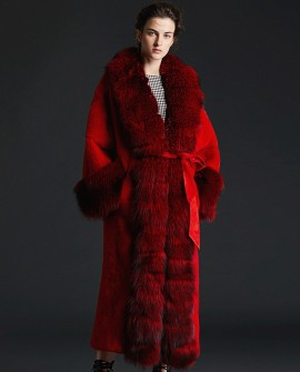 Cross Mink Fur Long Coat With Shadow Blue Frost Fox Fur Trim