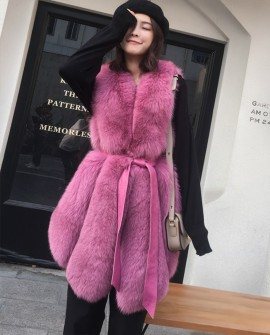 Leather Belt Fox Fur Vest