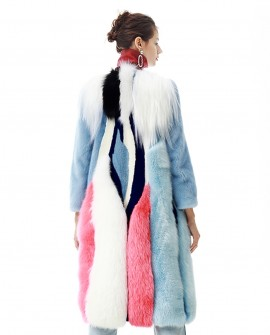 Multicolored Mink Fur Fox Fur Long Coat
