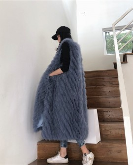 Pullover Fox Fur Striped Long Vest