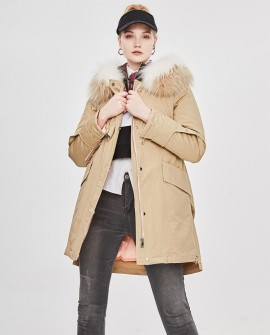 Raccoon Fur Trimmed Hooded Down-filled Winter Coat in Khaki