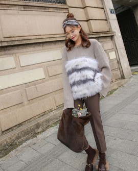 Raccoon Fur Trimmed Sweater Coat