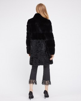 Rex Rabbit Fur Coat with Lamb Fur Half Bottom