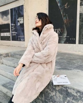 Rex Rabbit Fur Long Coat in Beige and Coral