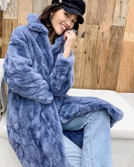 Rex Rabbit Fur Long Coat in Light-Blue