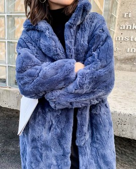Rex Rabbit Fur Long Coat Navy Blue
