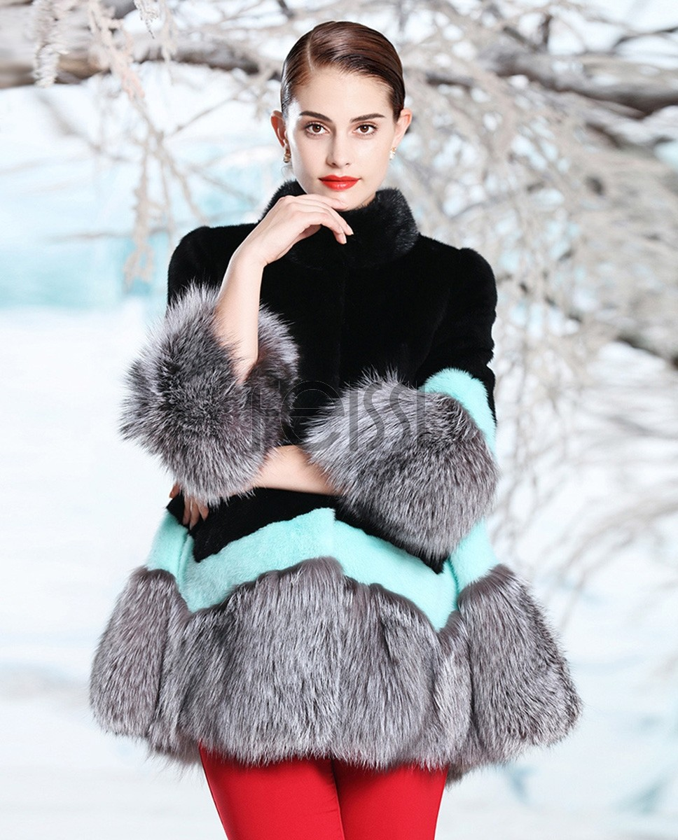 A-shaped Mink Fur Cape Style Jacket with Silver Fox Fur Trim 300a