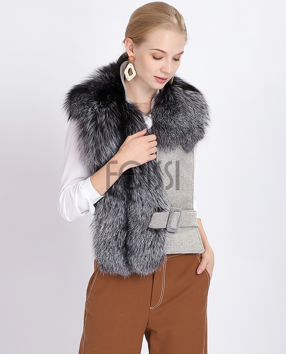 Belted Fox Fur Stole 358a