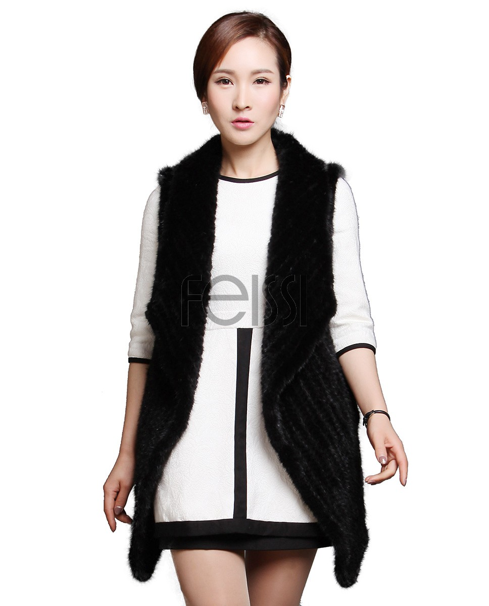 Black Kinitted Mink Fur Vest 607_1