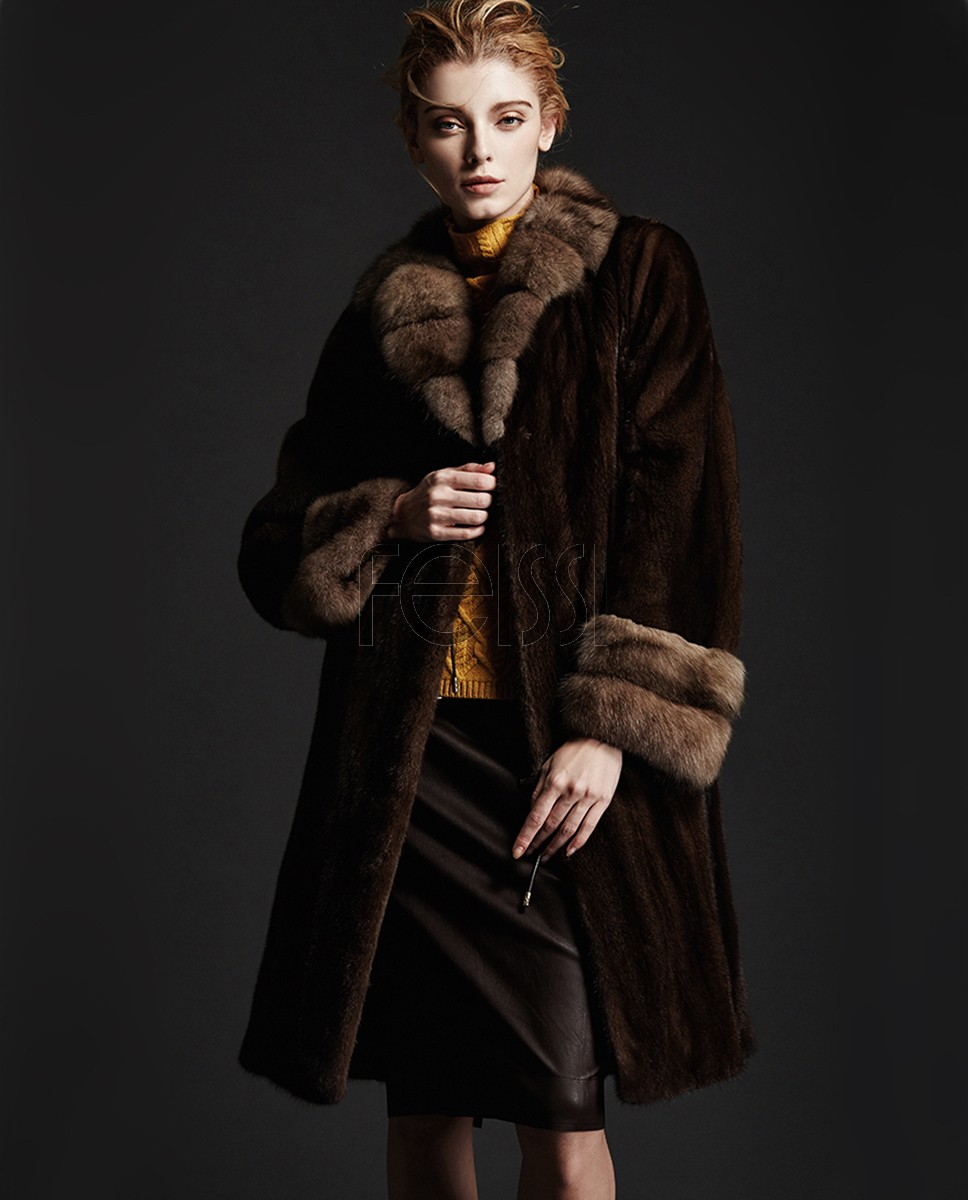 Brown Mink Fur Coat with Sable Fur Collar and Cuffs 148a