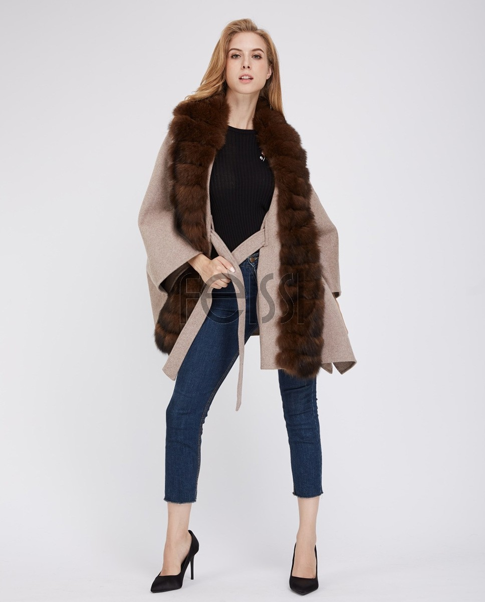 Cashmere Cape with Fox Fur Trim 241b