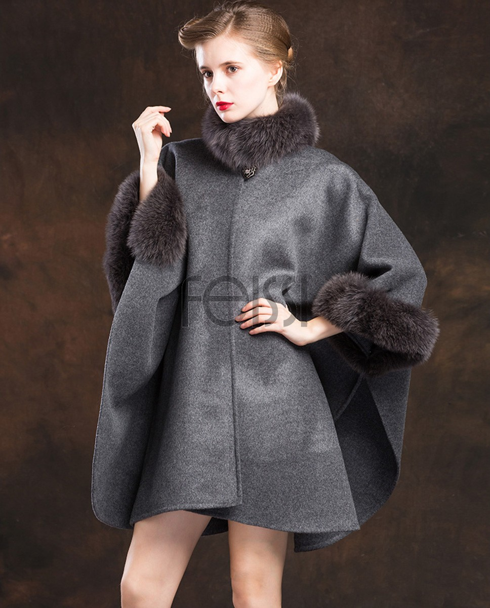 Cashmere Cape with Fox Fur Trim 827ba
