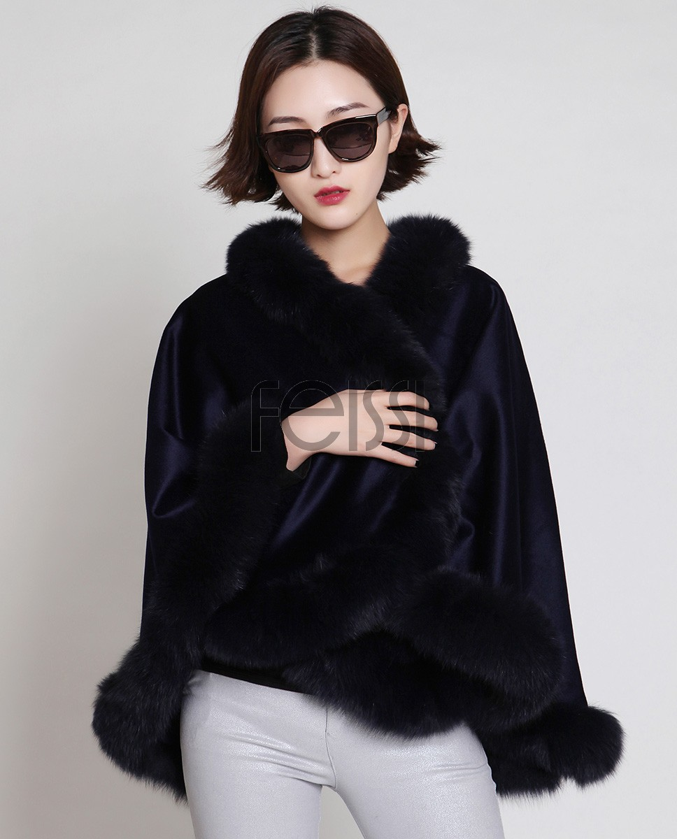 Cashmere Cape with Fox Fur Trim 880 Blue b