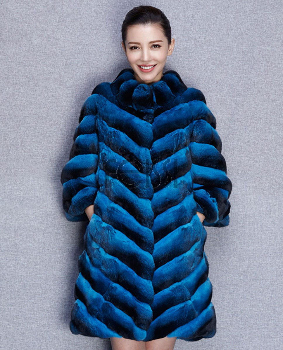 Chinchilla Fur Coat 576 Blue 1