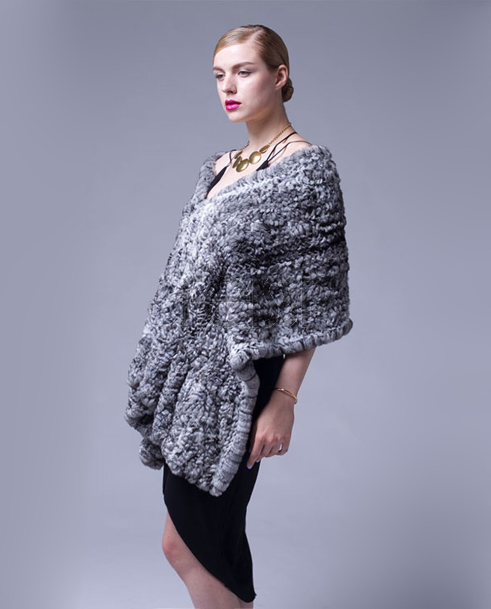 Chinchilla Fur Knitted Cape 040a