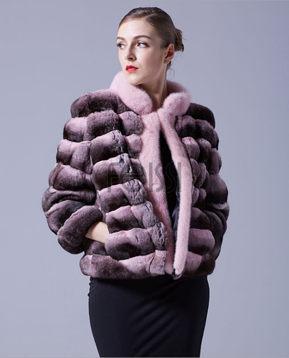 Cropped Chinchilla Fur Jacket with Mink Fur Trimming 026a
