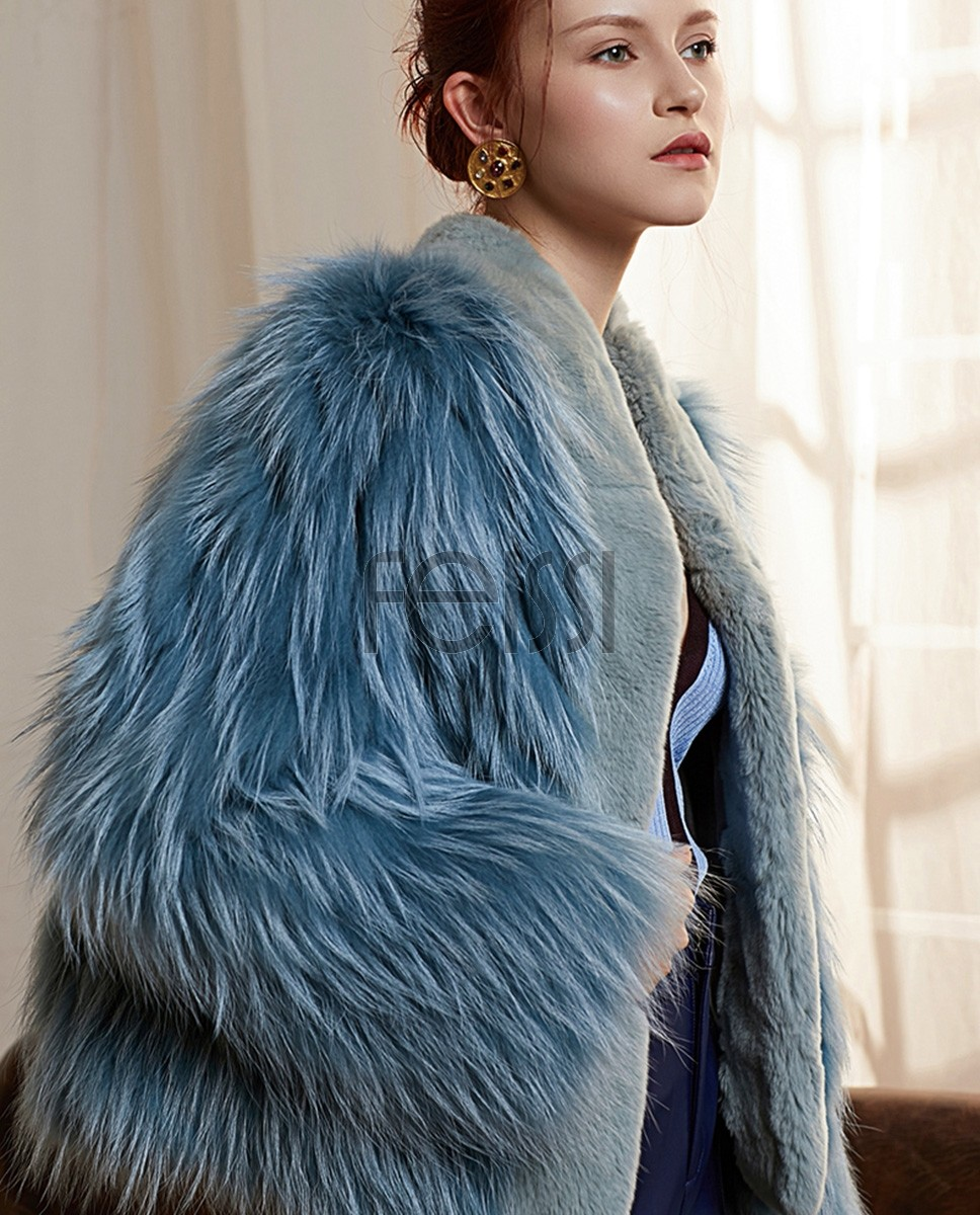 Cropped Fox Fur Jacket with Rex Rabbit Fur Trimming 288a