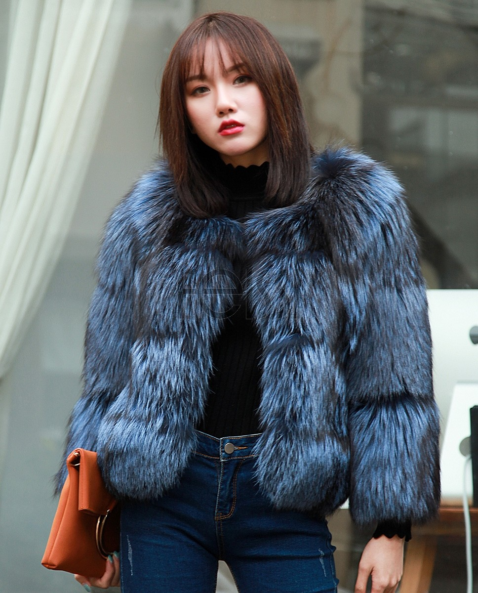 Cropped Silver Fox Fur Jacket in Blue 0005a