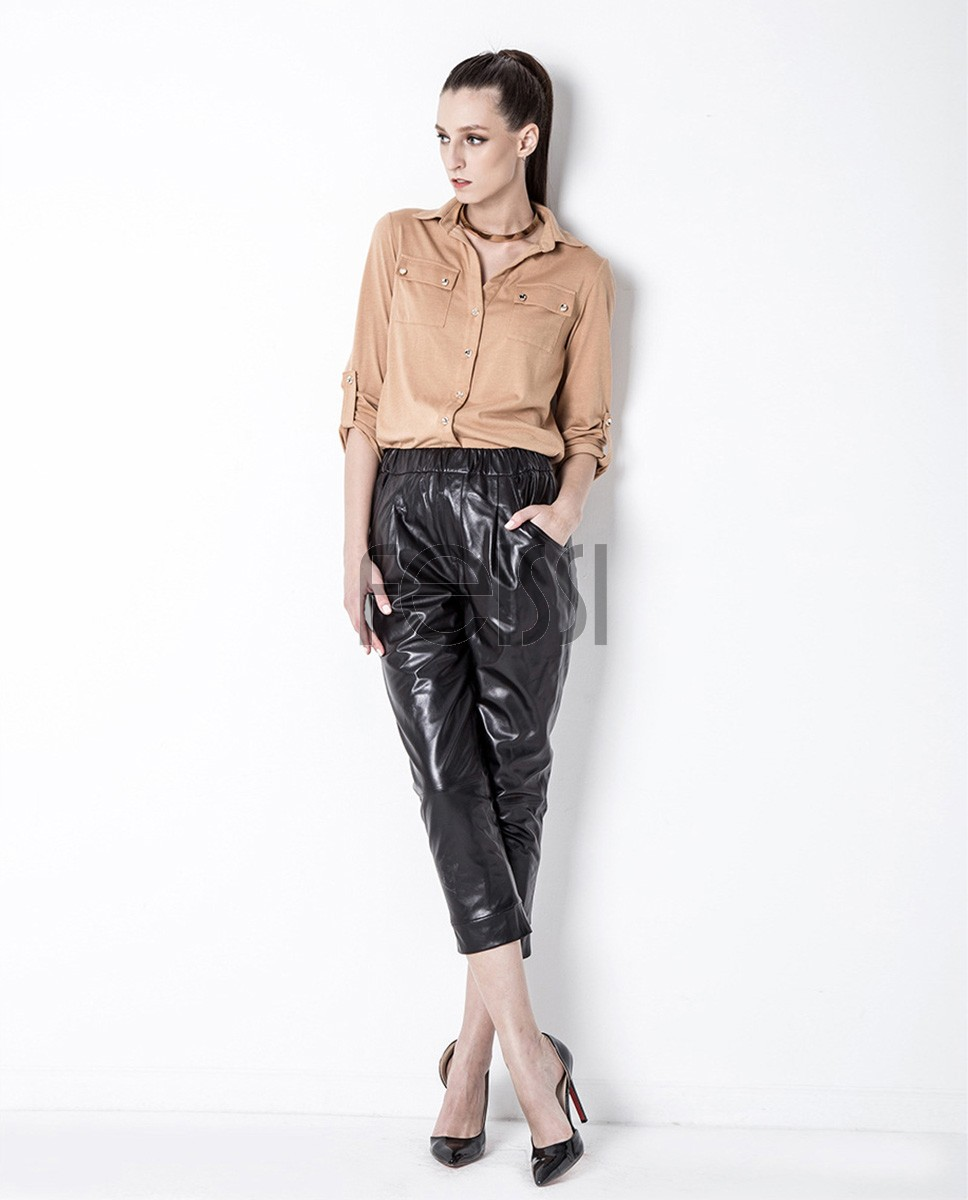 Cropped Women's Leather Pants 799a