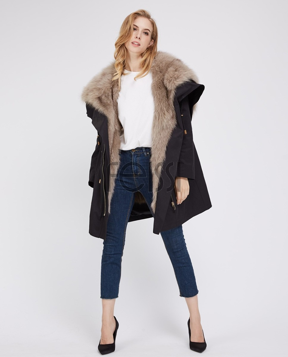 Detachable Fox Fur Lined Cropped Parka with Zipped Hood 247a