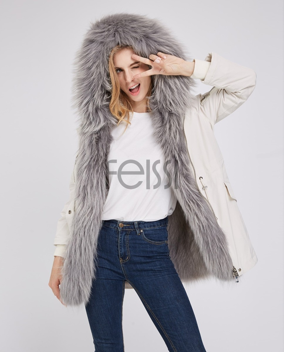 Detachable Fox Fur Lined Hooded Down-filled Parka with Raccoon Fur Trim 249a