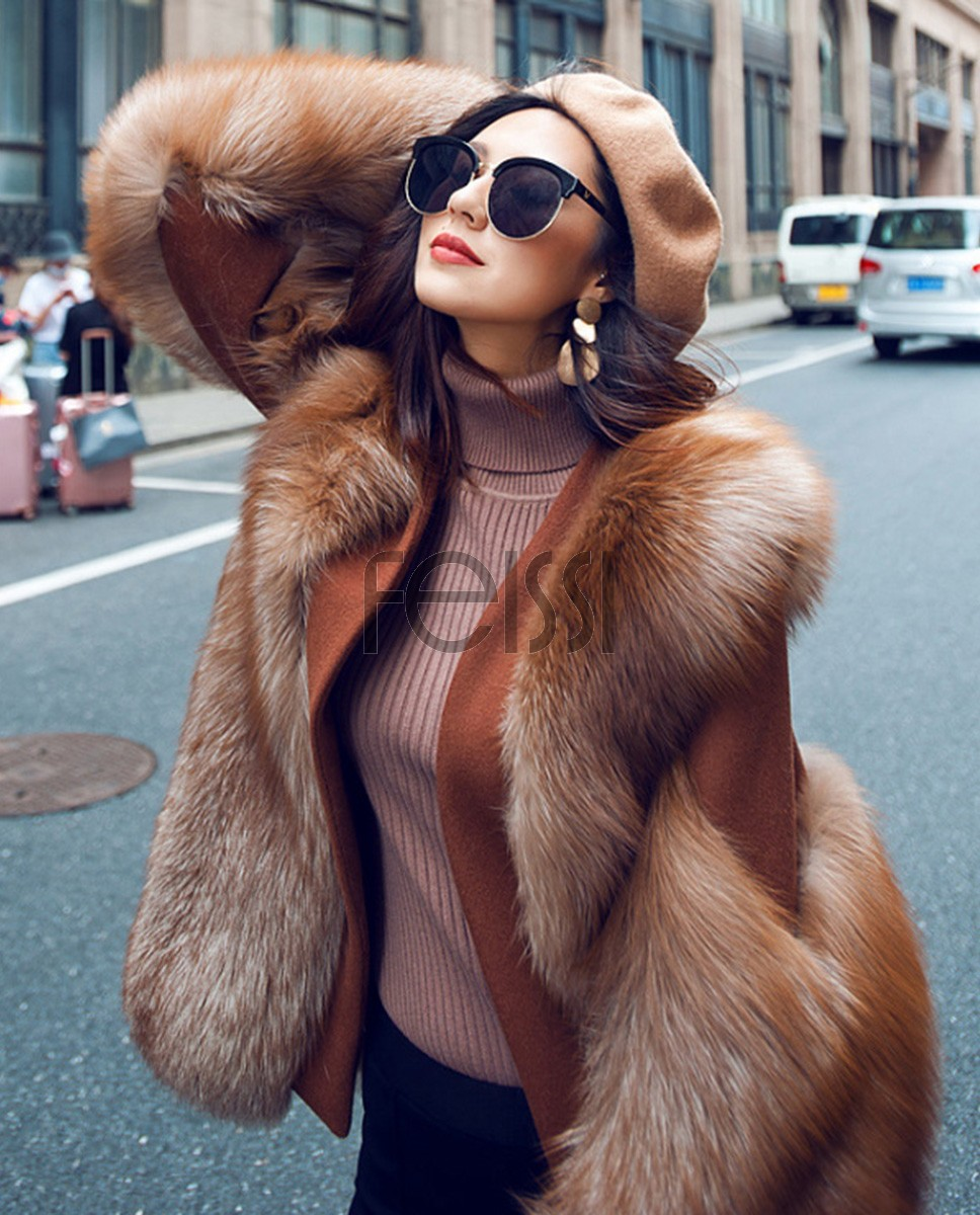 Crystal Fox Fur Coat with Double-Sided Wool Trim 991g