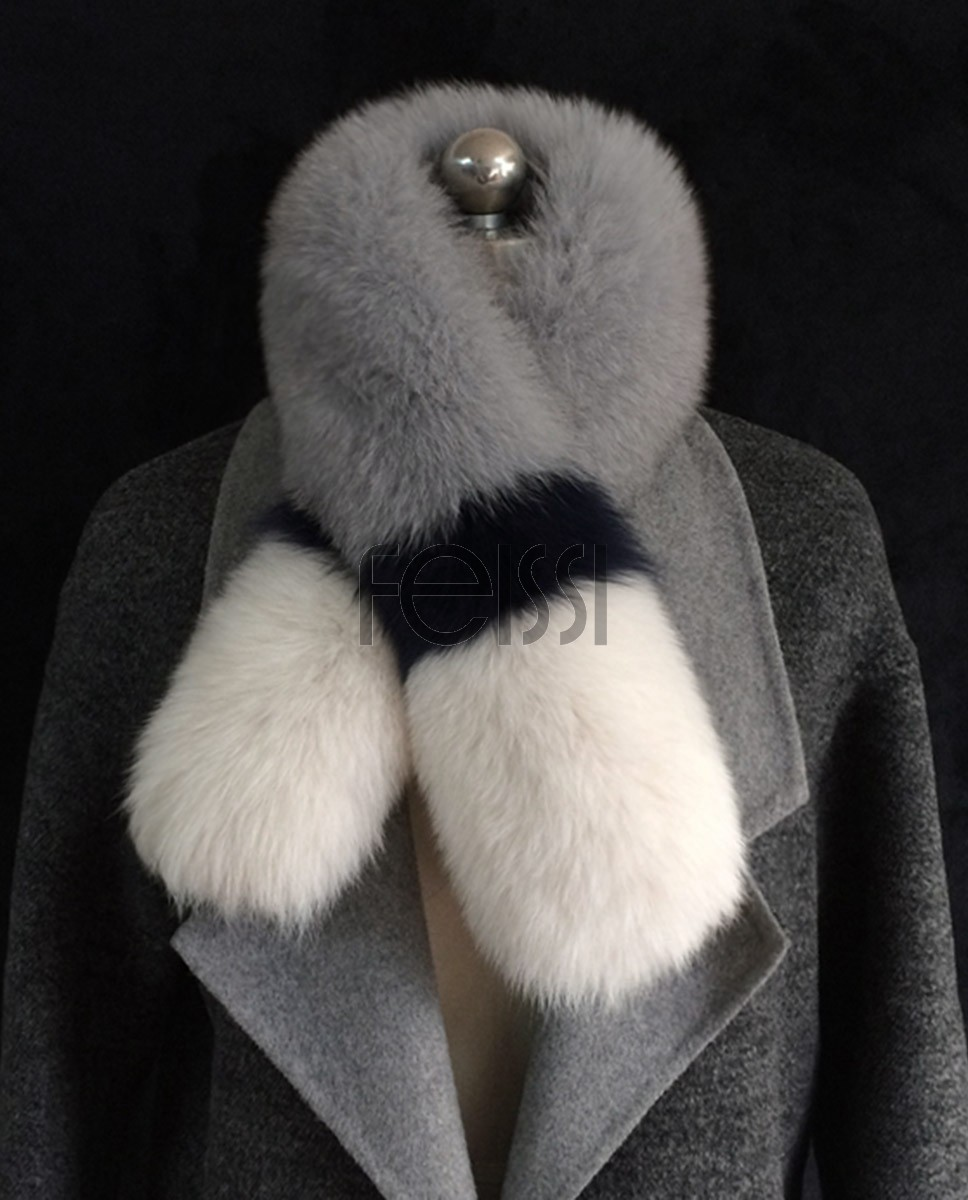 Fox Fur Scarf 831 White-Gray-White 1