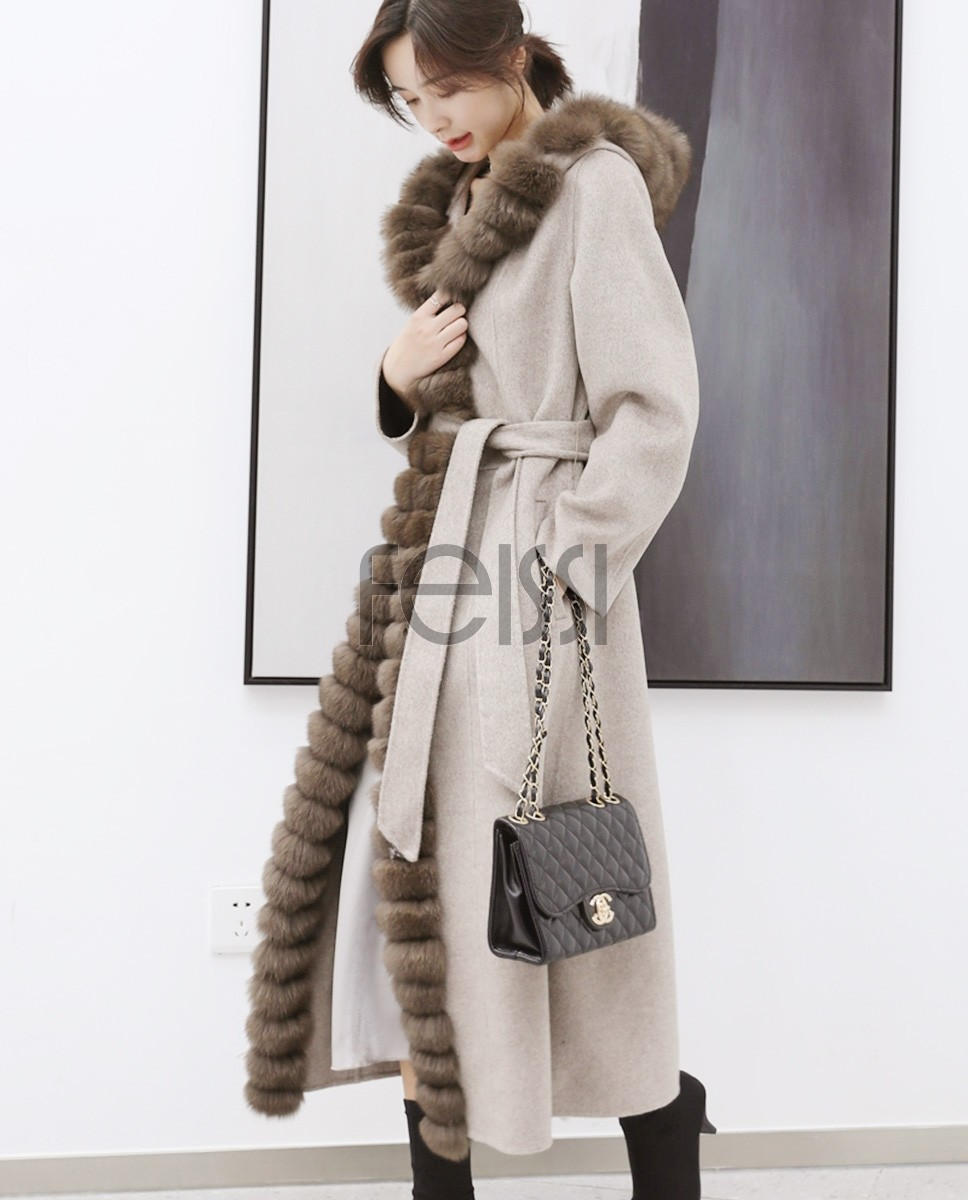 Fox Fur Trimmed Cashmere Long Belted Hooded Coat 335a