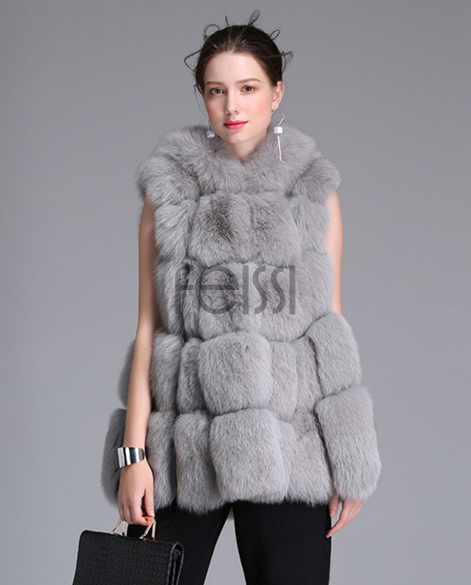 Fox Fur Vest 771 Gray 1