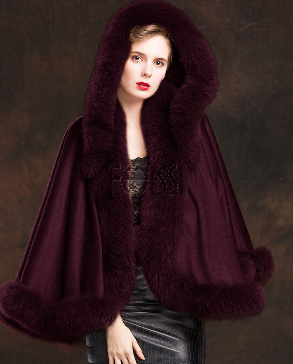 Fox Trimmed Cashmere Cape with Hood 137-Wine-1