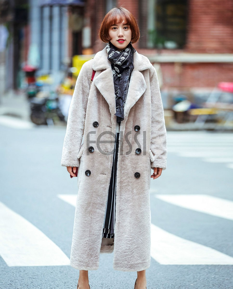 Full Length Shearling Lambwool Coat 700 Gray_1