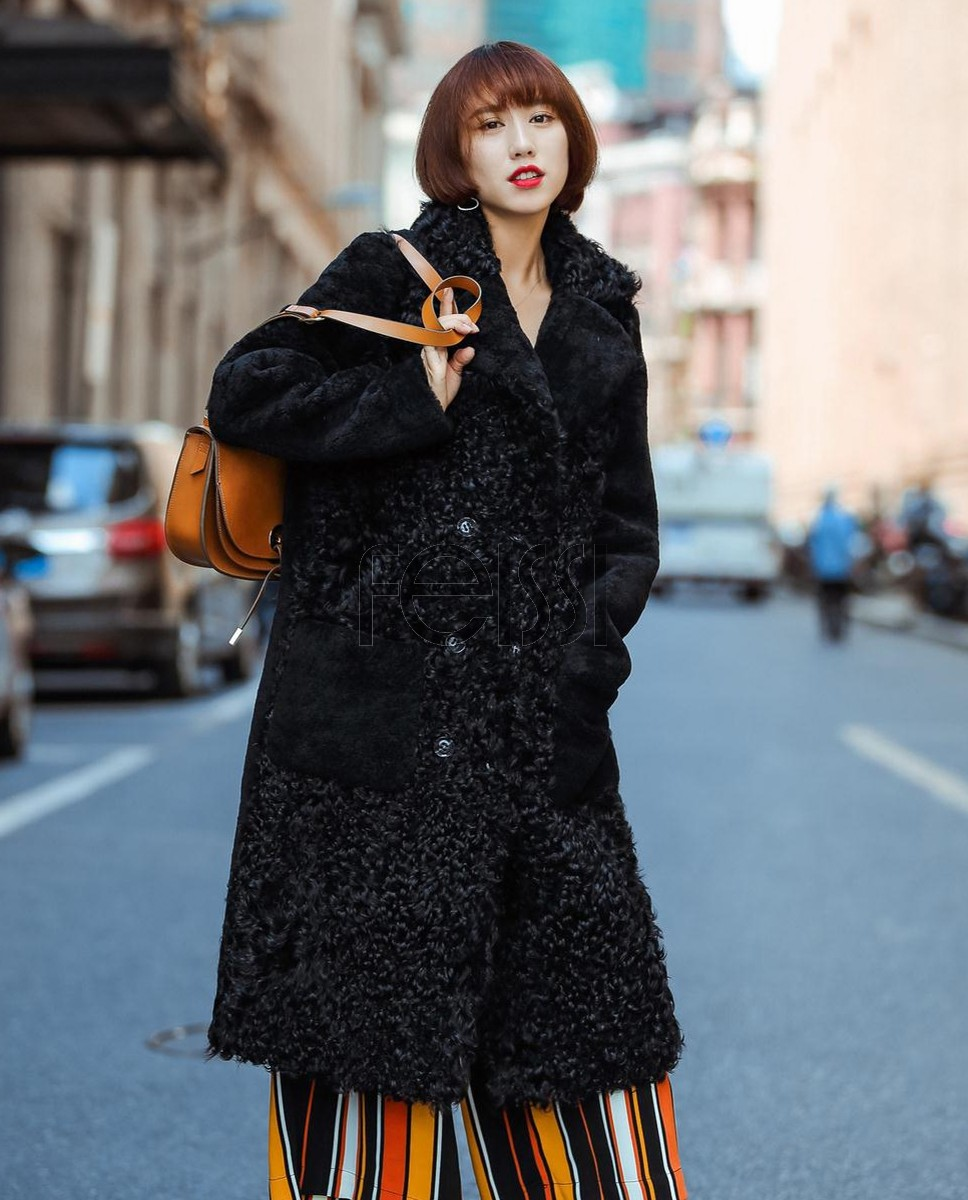 Full Length Shearling Sheep Fur Coat 705 Black_1