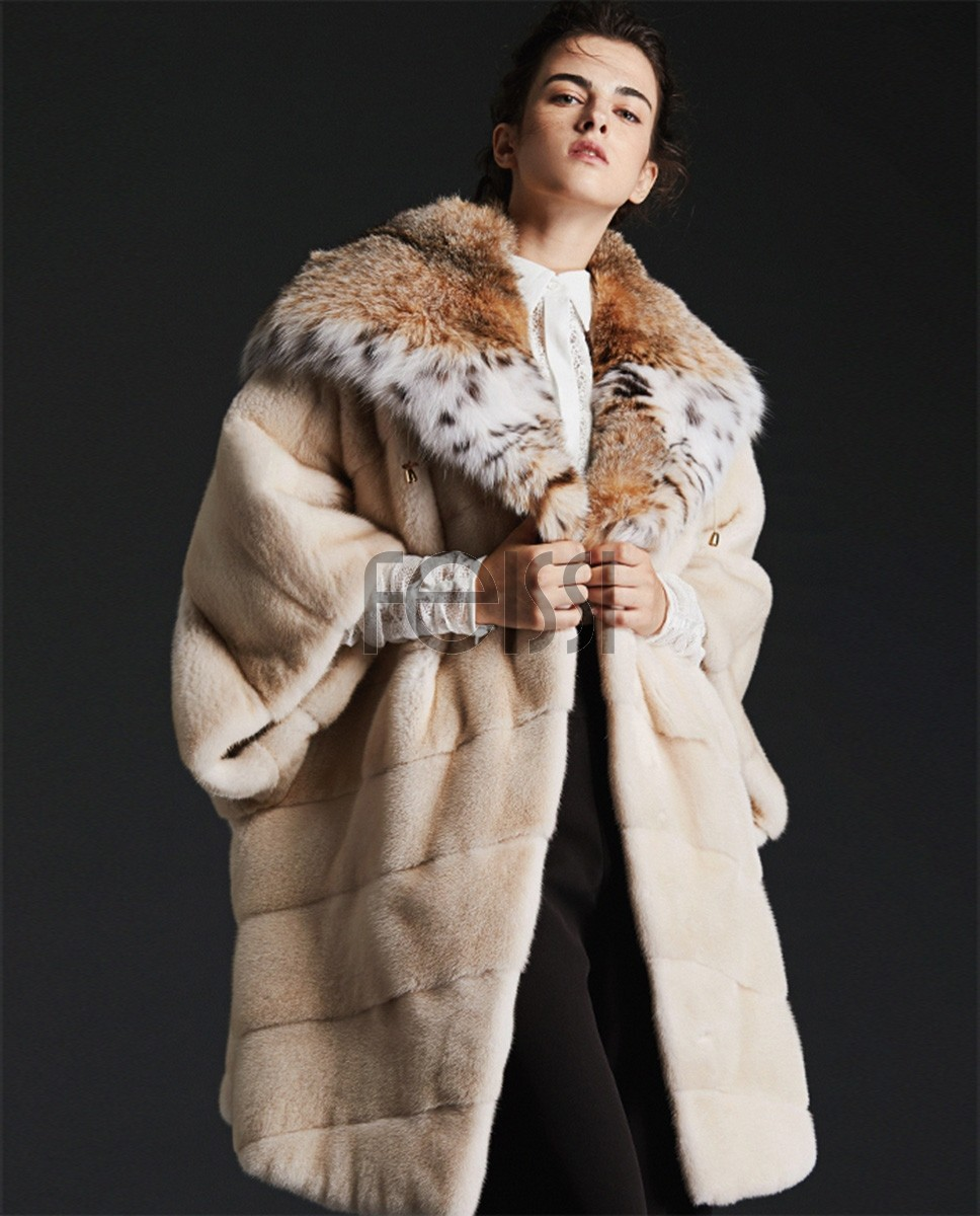 Hooded Cape Look Mink Fur Coat with Lynx Fur Trimming 0084a