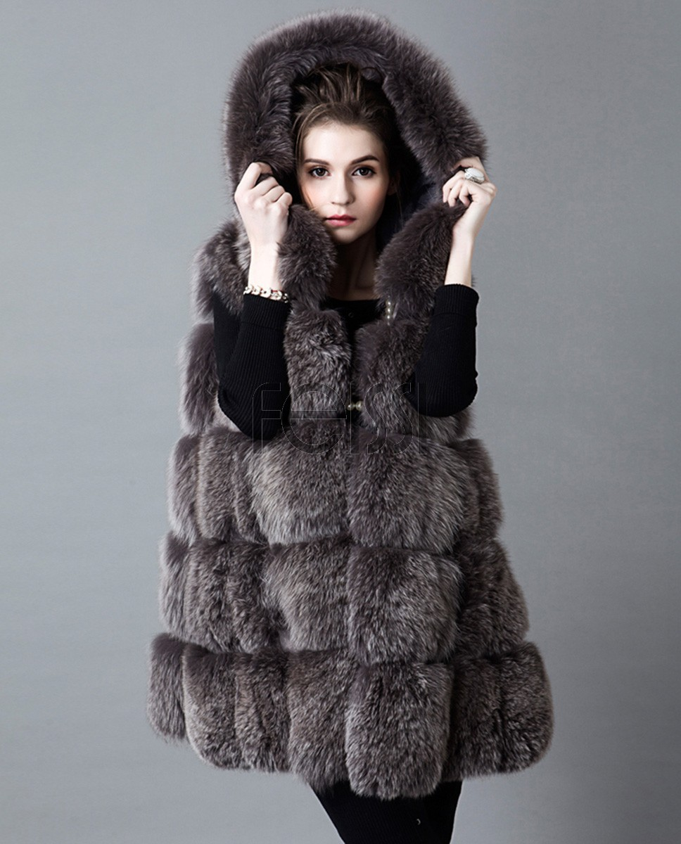 Hooded Fox Fur Vest 917a
