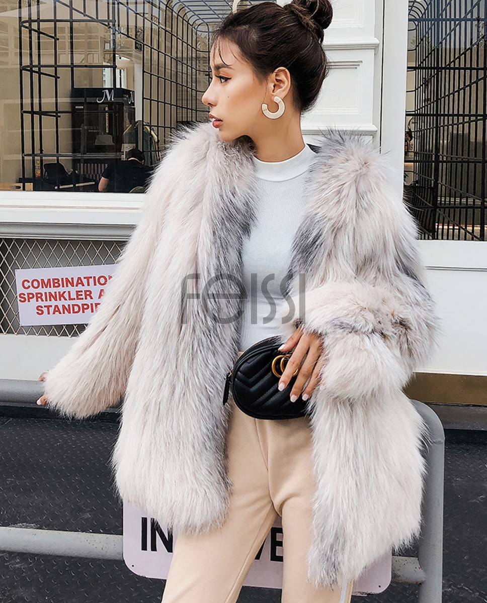 Hooded Knitted Fox Fur Jacket 276e