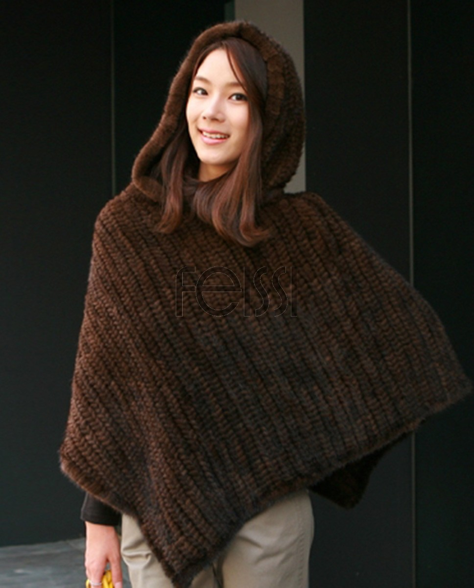 Hooded Knitted Mink Fur Poncho 840a