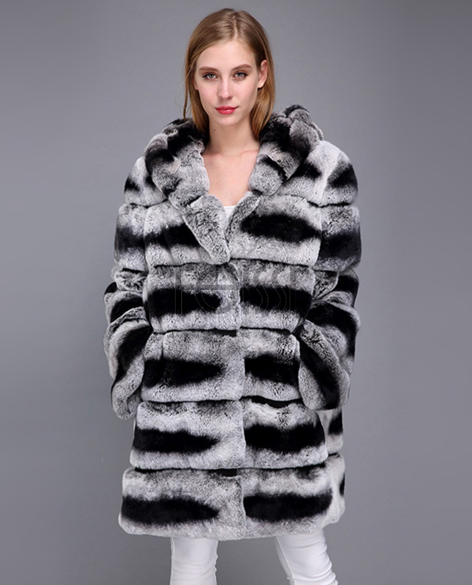 Hooded Rex Rabbit Fur Coat with Chinchilla Look 952a
