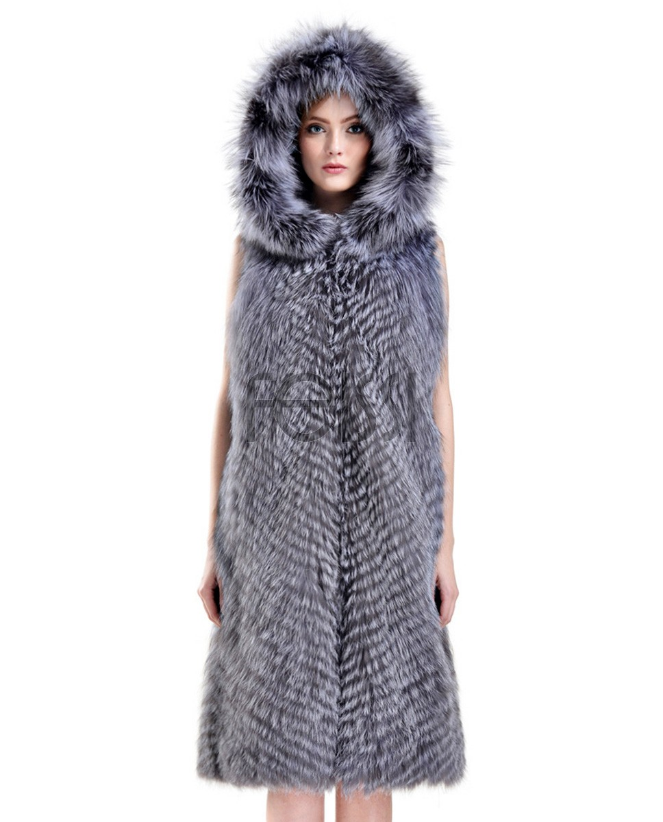 Hooded Silver Fox Fur Vest 730a