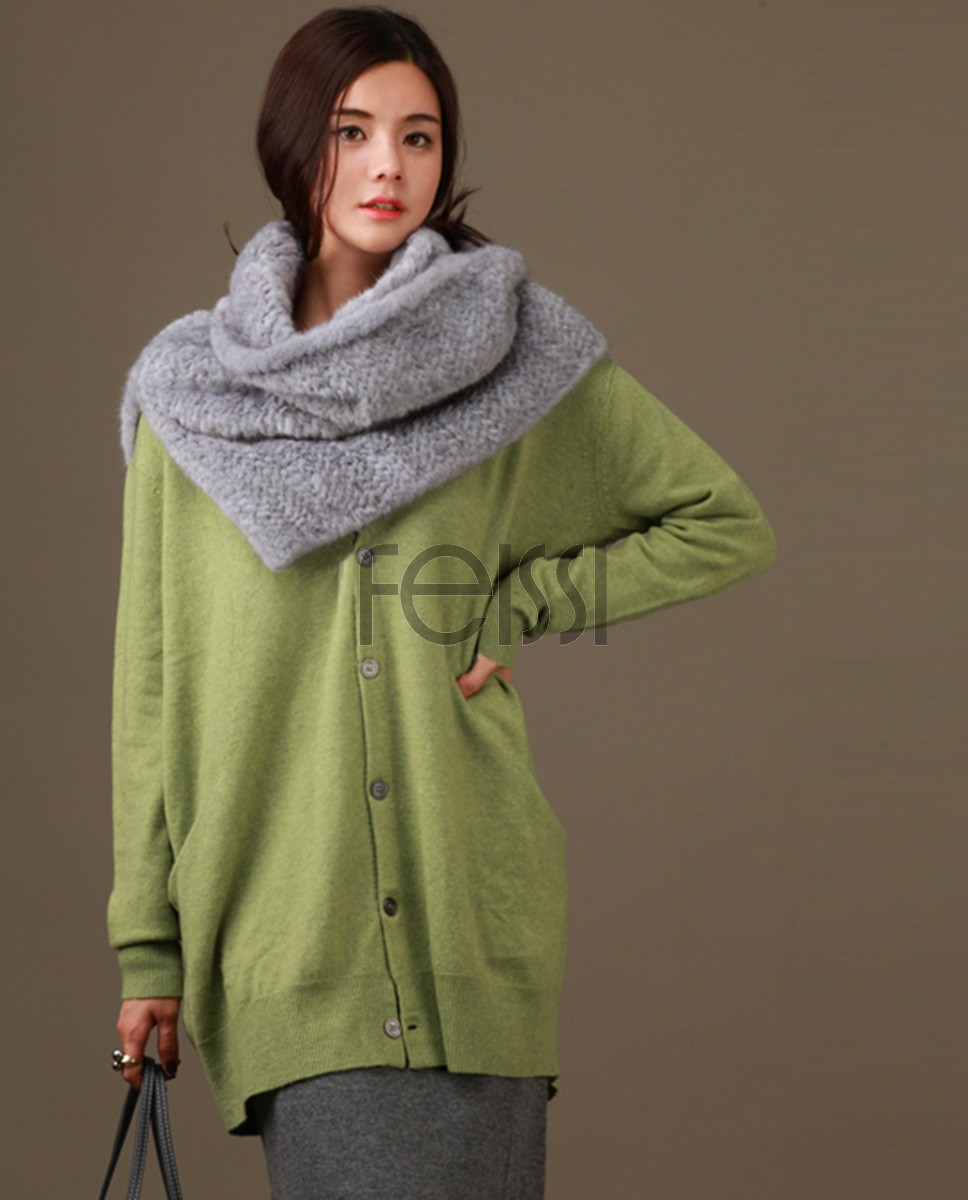 Knitted Mink Fur Capelet 841 Gray 1
