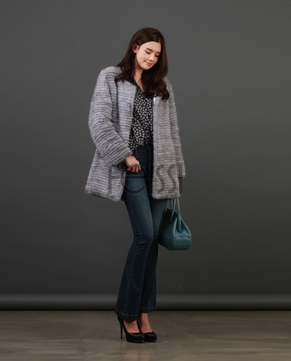 Knitted Mink Fur Coat 845a