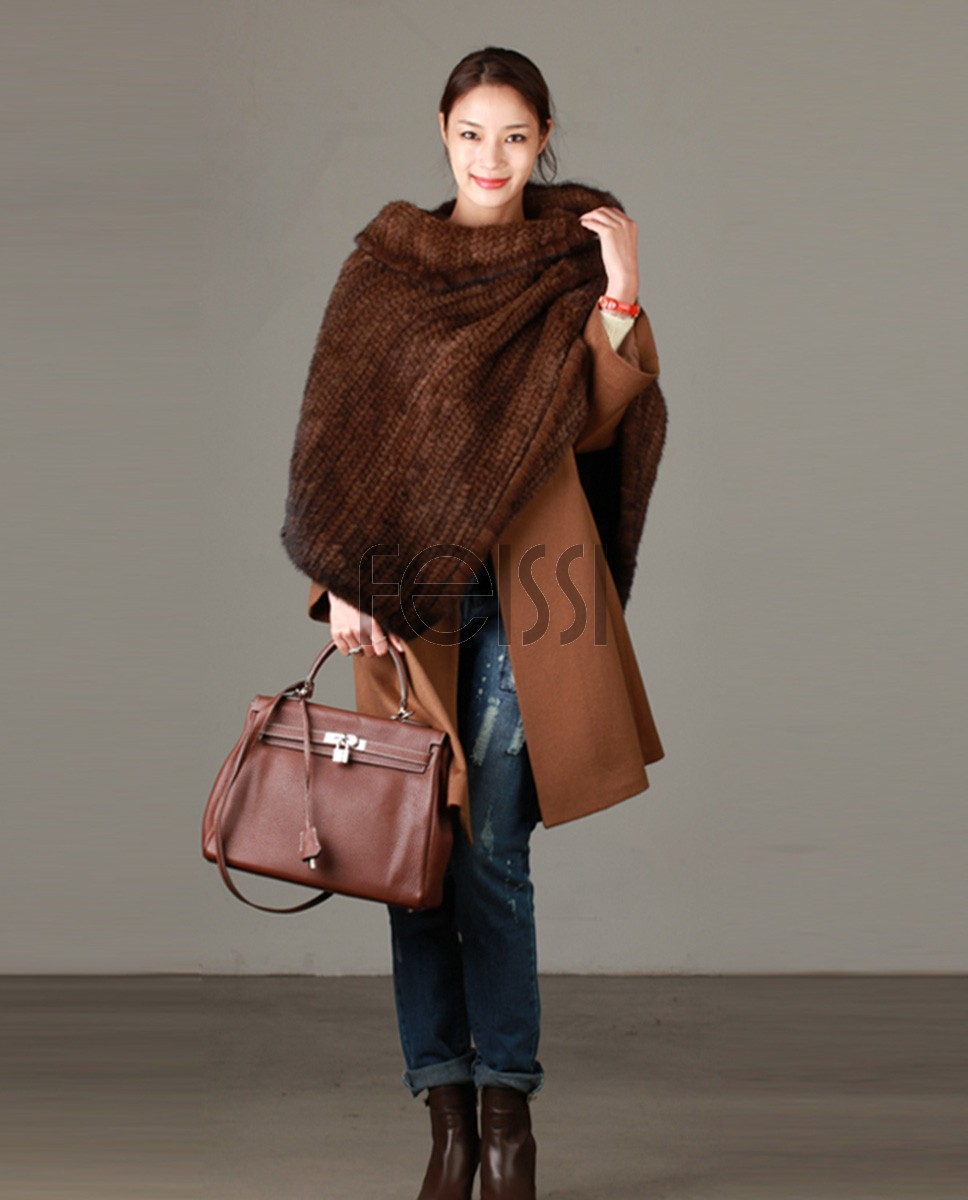 Knitted Mink Fur Poncho 843 Coffee 1